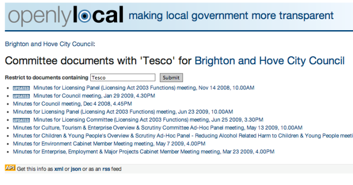 Brighton Council minutes/agendas with keyword 'Tesco'