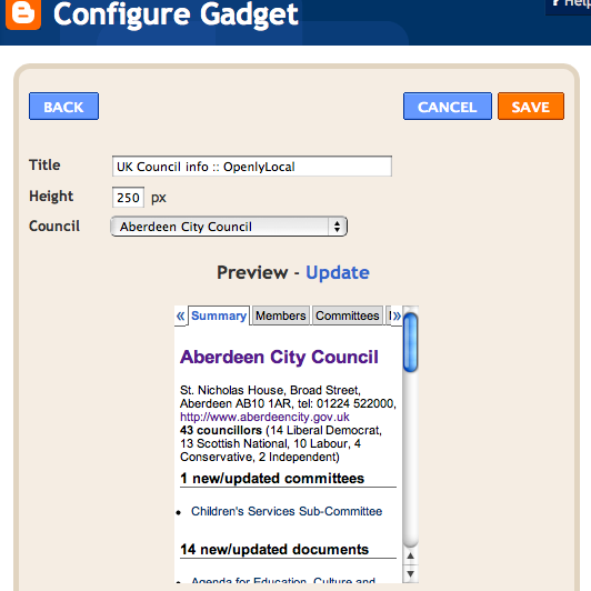 Google Gadgets: OpenlyLocal Info On Your Website, Part 1: Google Gadgets