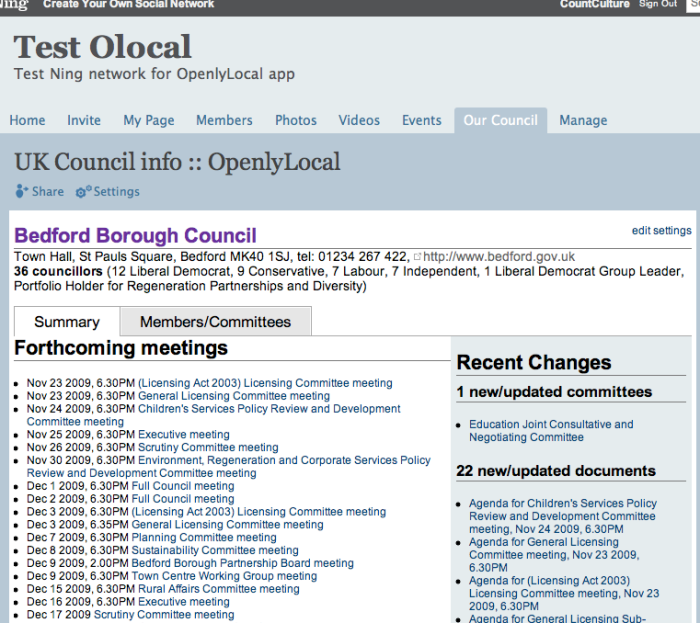 Screenshot of Hyperlocal Ning app from OpenlyLocal