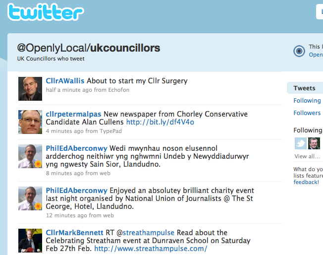 List of UK local councillors who tweet