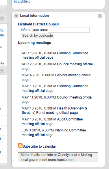 OpenlyLocal widget for forthcoming council meetings