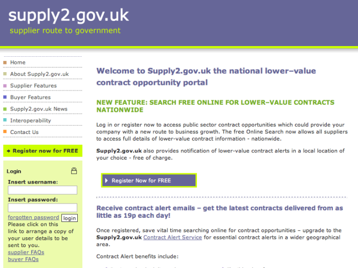 Supply2.gov.uk portal