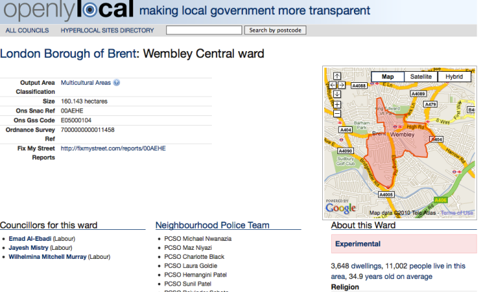 Ward details and map for Wembley Central