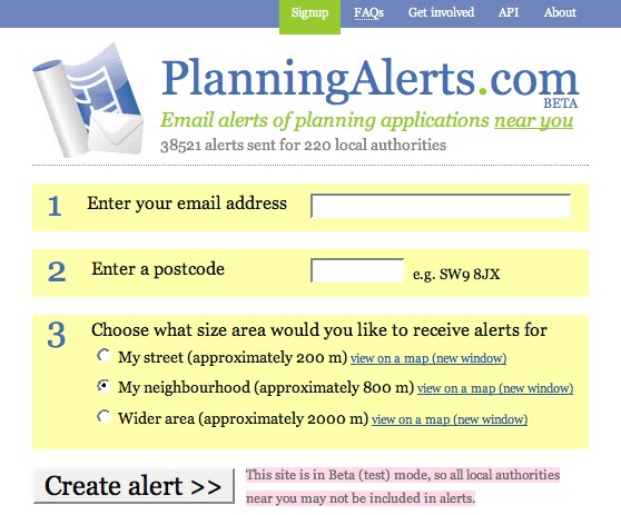 Planning Alerts screengrab