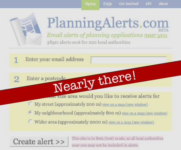 PlanningAlerts is coming soon